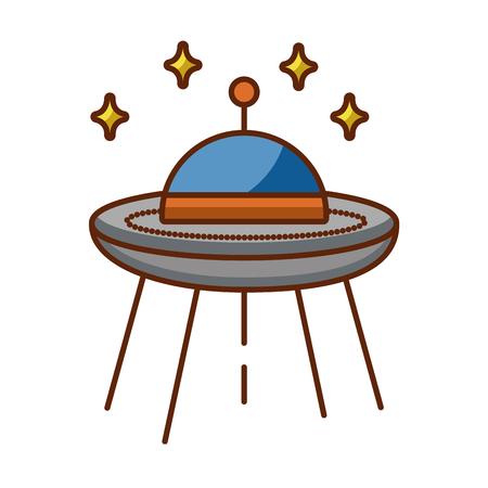 ufo flying with stars vector illustration design