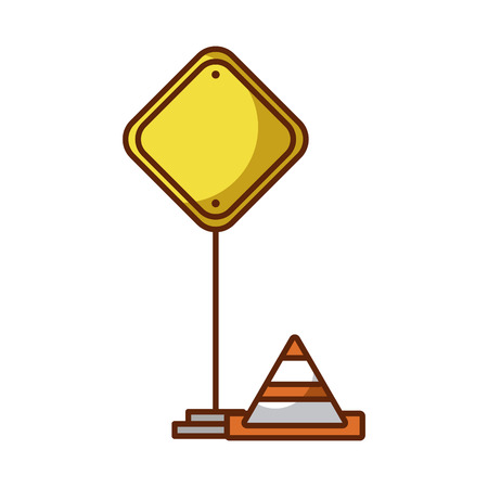 traffic signal with cone vector illustration design Çizim