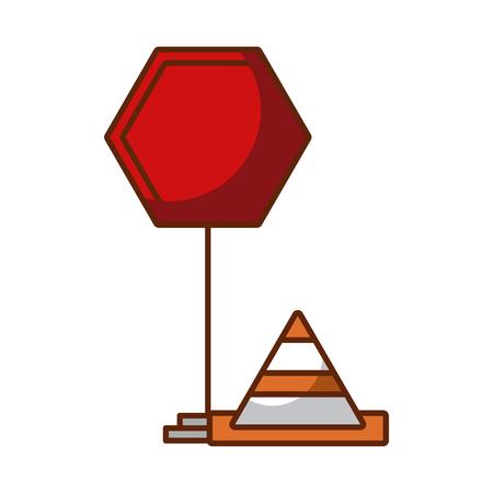 traffic signal with cone vector illustration design Çizim