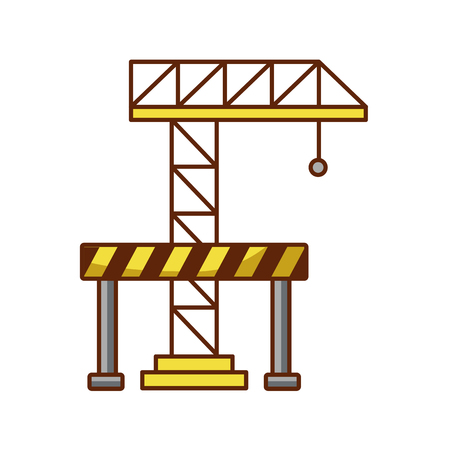 crane construction with barricade vector illustration design Illustration