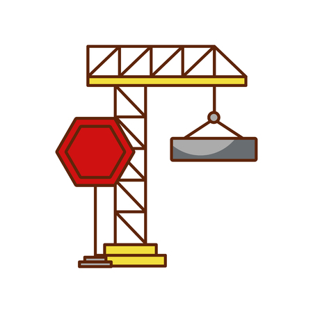 crane construction with stop sign vector illustration design
