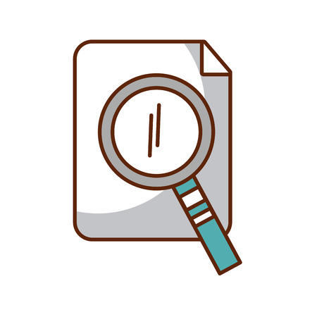 search magnifying glass with paper vector illustration design Çizim