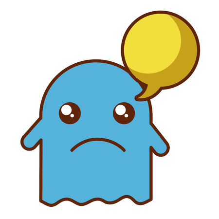 ghost kawaii character with speech bubble vector illustration design
