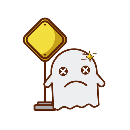 ghost kawaii character with traffic signal vector illustration design Illustration