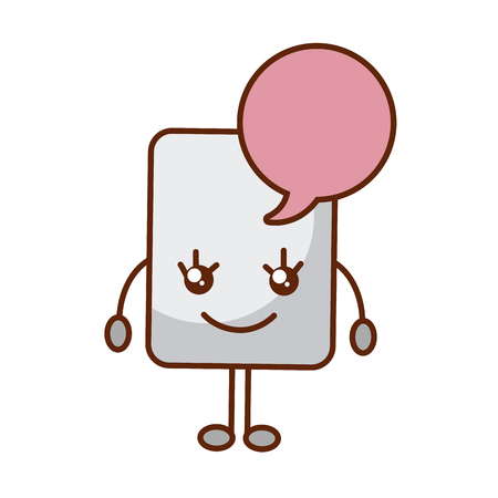 paper document with speech bubble kawaii character vector illustration design