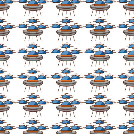 ufo flying with clouds pattern background vector illustration design