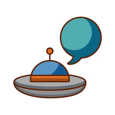 ufo vliegen met vector de illustratieontwerp van de toespraakbel Stock Illustratie