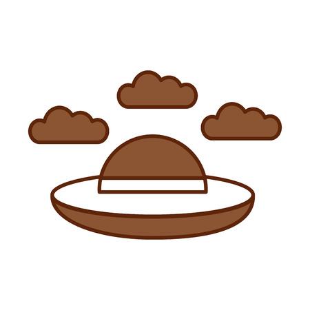 ufo die met ontwerp van de wolken het vectorillustratie vliegen