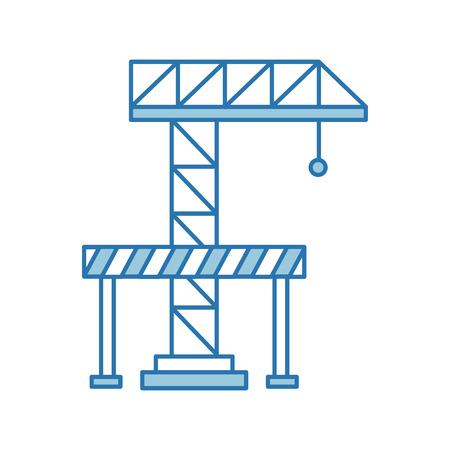 crane construction with barricade vector illustration design Ilustrace