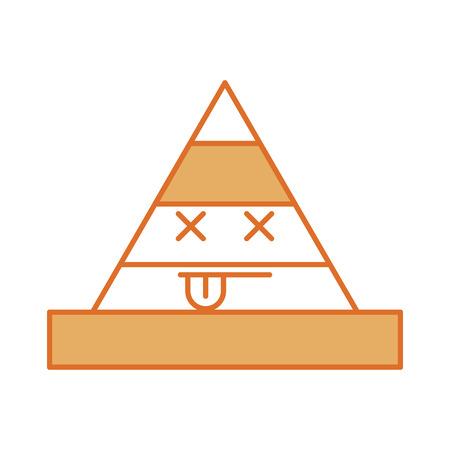 cone construction kawaii character vector illustration design