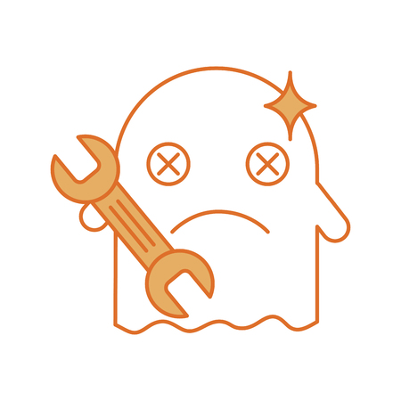 ghost kawaii character with wrench vector illustration design