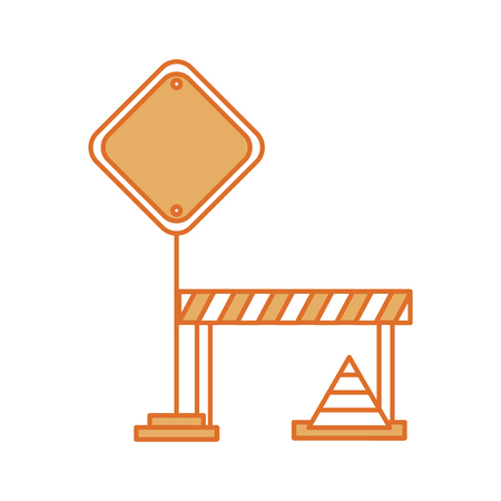 traffic signal with fence and cone vector illustration design