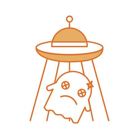 ufo die met ontwerp van de spook het vectorillustratie vliegen Stock Illustratie