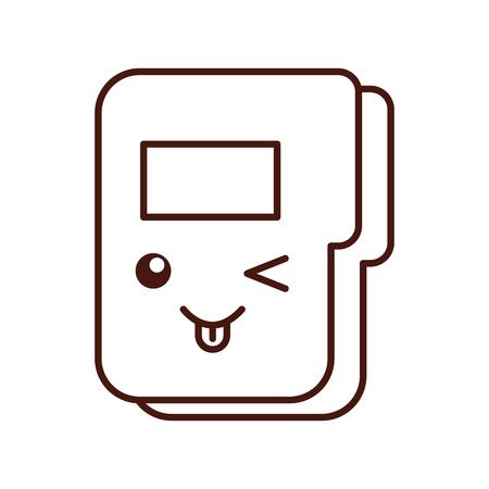 folder document kawaii character vector illustration design Ilustração