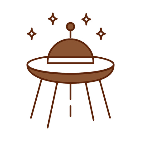 ufo flying with stars vector illustration design