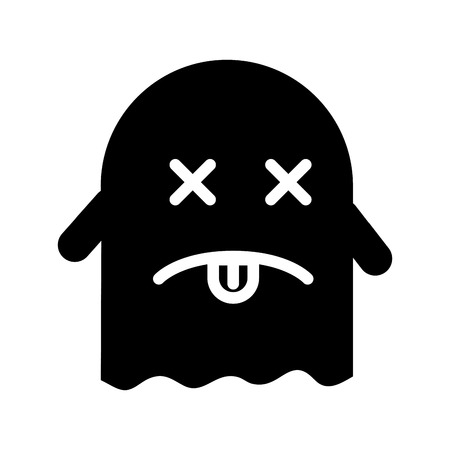 ghost kawaii character with folder vector illustration design