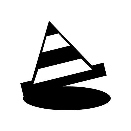 Silhouette stripe cone construction isolated icon vector illustration design