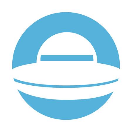ufo 비행 격리 아이콘 벡터 일러스트 디자인