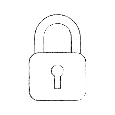 Safety padlock for security concept icon vector outline illustration design