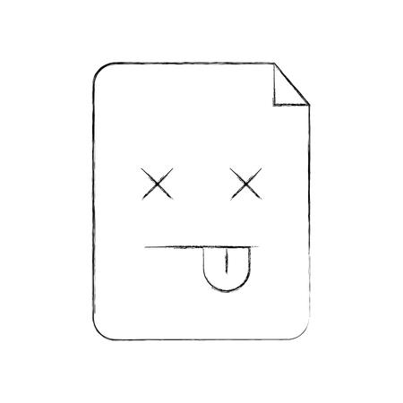 Paper document kawaii in character vector outline illustration design