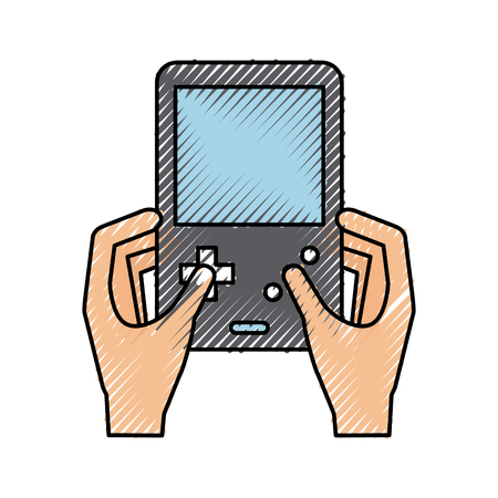 Hands user with Portable video game console vector illustration design