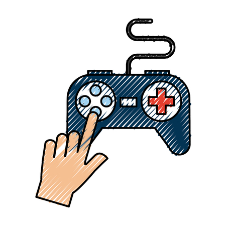 pc: Hands with video game control icon vector illustration design