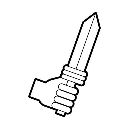 剣武器戦士ゲーム ベクトル イラスト デザインを手します。