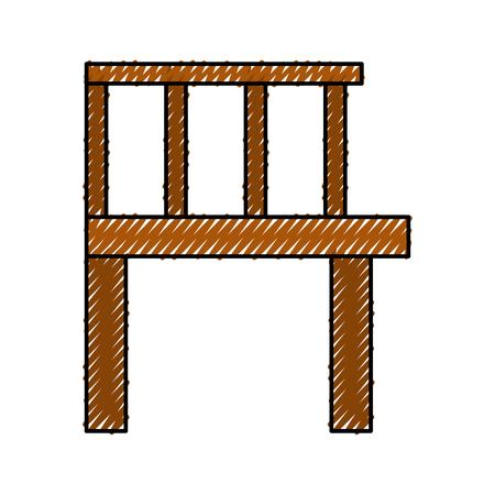 木製の桟橋が分離されたアイコン ベクトル イラスト デザイン  イラスト・ベクター素材