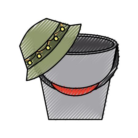 fisher hat with pot vector illustration design