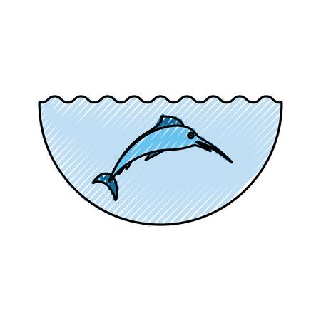 Mar peces icono aislado diseño de ilustración vectorial Foto de archivo - 82983166