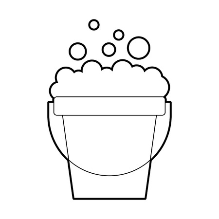 laundry bucket with foam vector illustration design