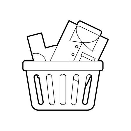 unwashed: laundry basket with clothes vector illustration design Illustration