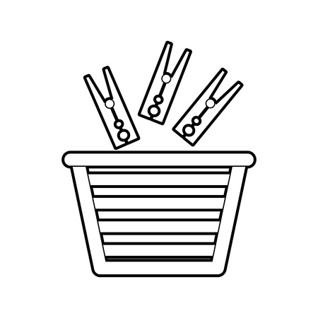 unwashed: laundry basket with clothes pin vector illustration design