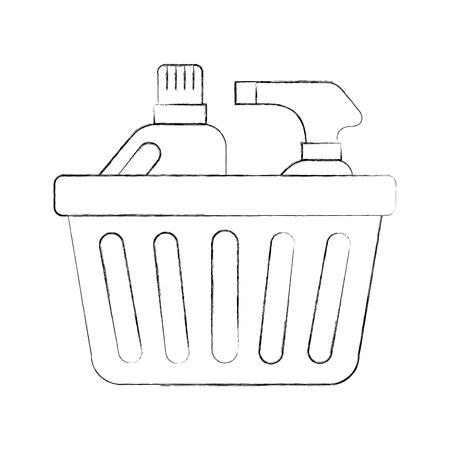 Laundry basket with detergent bottles vector illustration design.