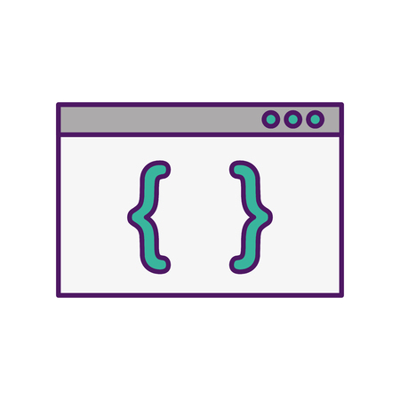 Template computer with brackets vector illustration design