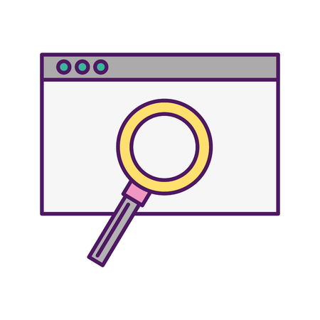 Template computer with magnifying glass vector illustration design