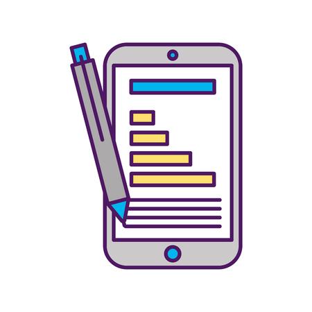 Smartphone device with statistics vector illustration design Illusztráció