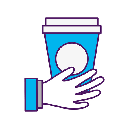 hand with coffee plastic cup icon vector illustration design