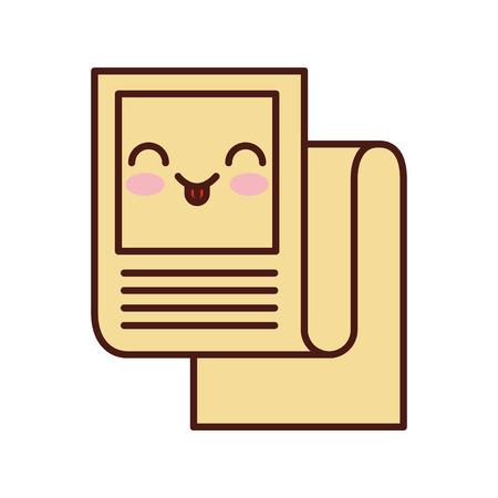 Statistical report kawaii character vector illustration design