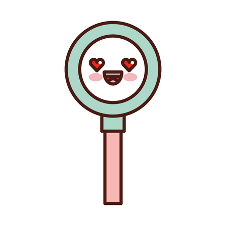 search magnifying glass kawaii character icon vector illustration design