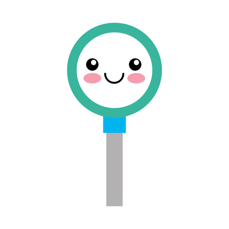 Search magnifying glass kawaii character icon vector illustration design Çizim