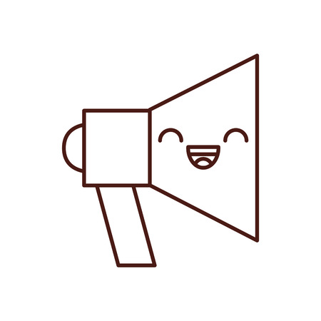megaphone sound kawaii character vector illustration design