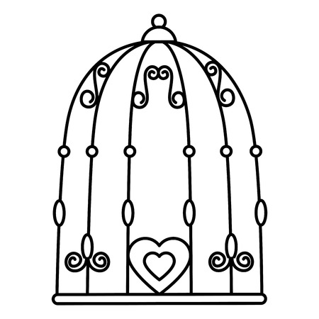 Bird cage with hearts vector illustration design