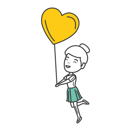 young woman with heart shaped party balloons character vector illustration design Illustration