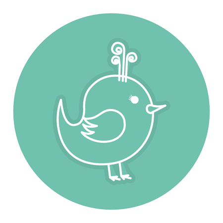Cute bird drawing icon vector outline illustration design