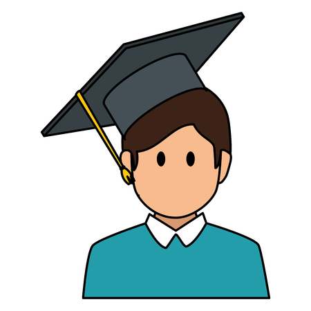 student graduated avatar character vector illustration design 向量圖像