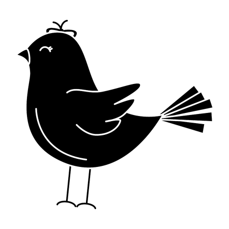 cute bird drawing icon vector illustration design