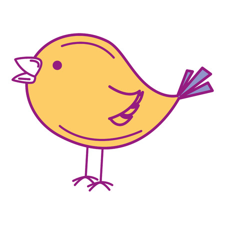 Cute bird drawing icon illustration design.