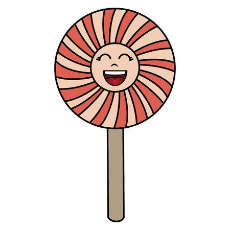 sweet lollipop kawaii character vector illustration design