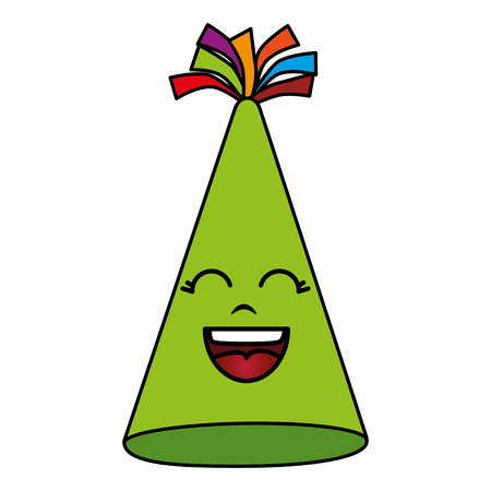 Feesthoed Kawaii karakter vector illustratie ontwerp